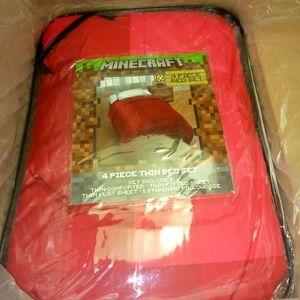 Kids 4 piece Minecraft Twin Comforter Set